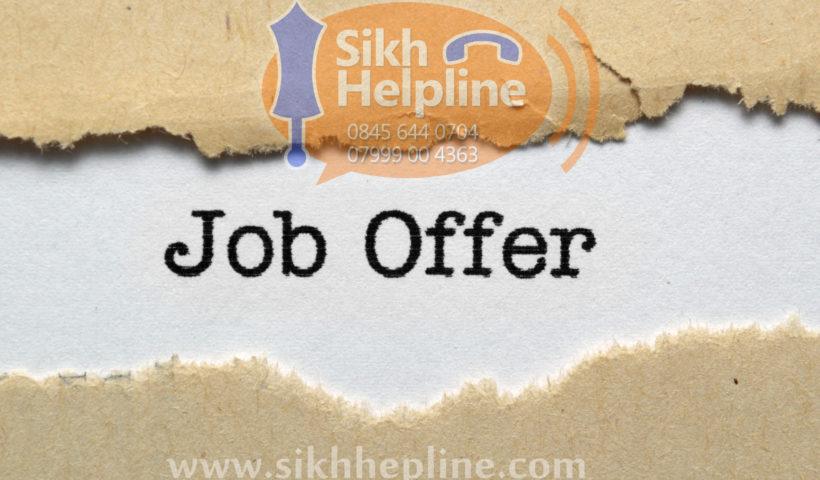 Job offer Sikh Helpline